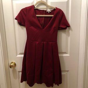 Wine scalloped dress